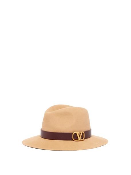 Valentino - V Logo Felt Fedora Hat - Womens - Cream