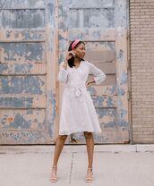 dress,white dress,snake print,sandals,wrap dress,headband