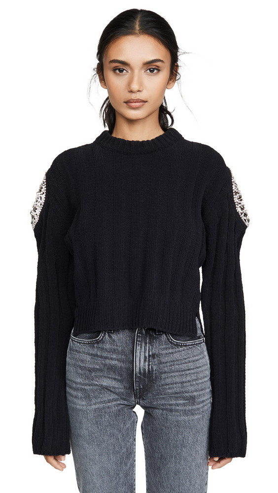 Area Ribbed Knit Chenille Cropped Sweater with Crystal Doily Inserts in black