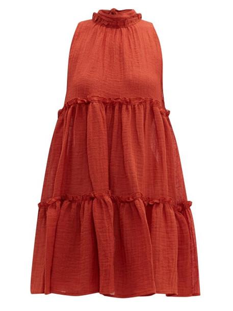 Lisa Marie Fernandez - Erica Ruffled Linen Blend Mini Dress - Womens - Red