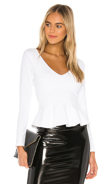 Susana Monaco Long Sleeve Peplum Blouse in White