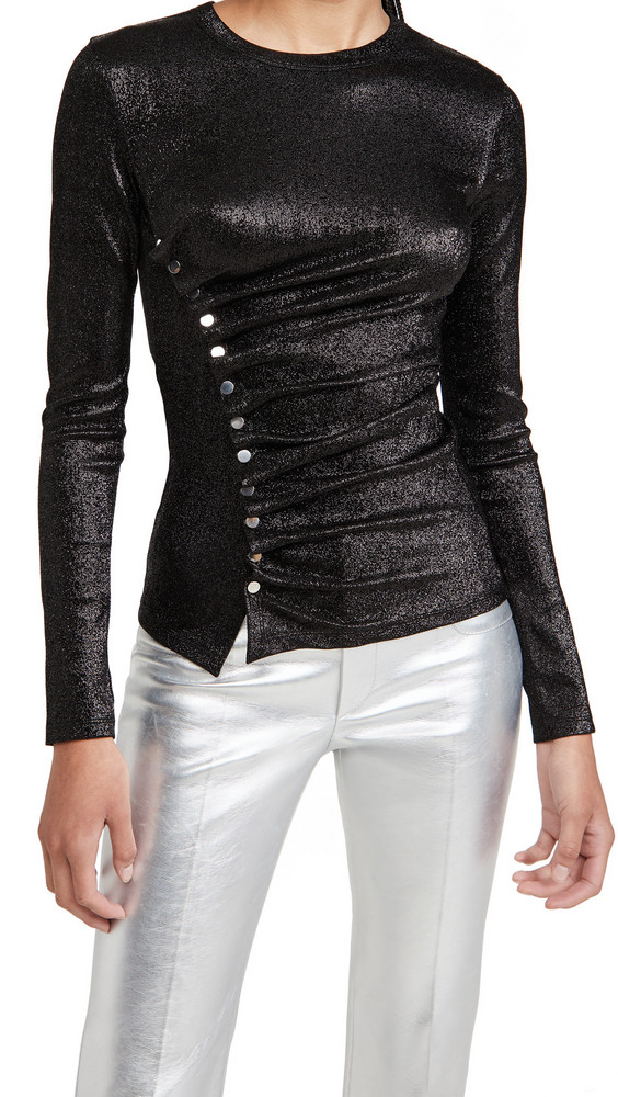 Paco Rabanne Metallic Crew Neck Top in black