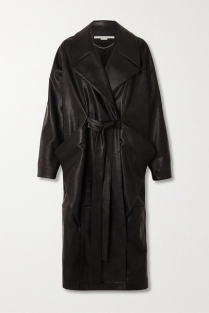Stella McCartney - Belted Vegetarian Leather Coat - Black
