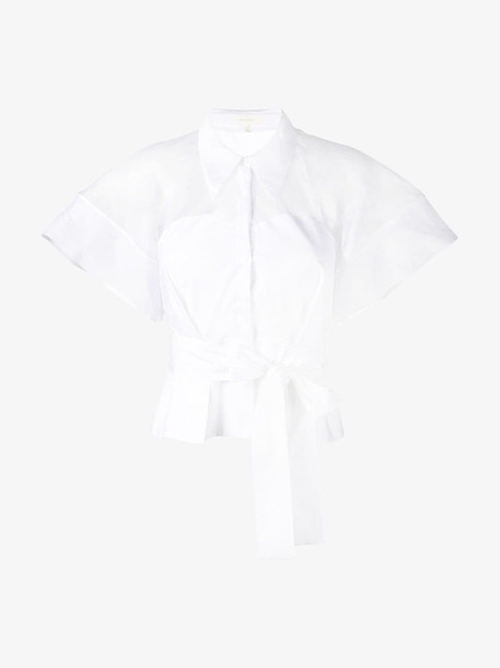 Delpozo belted shirt in white