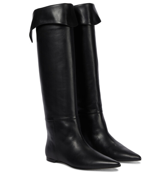 KHAITE Diego leather knee-high boots in black