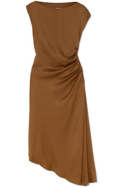 MM6 Maison Margiela - Asymmetric Ruched Satin Midi Dress - Brown