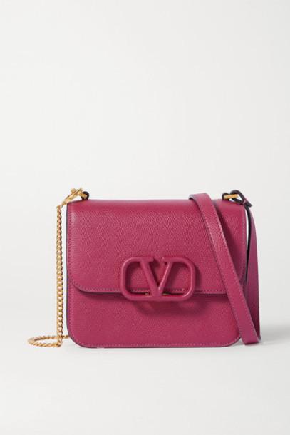 Valentino - Valentino Garavani Vsling Small Textured-leather Shoulder Bag in red