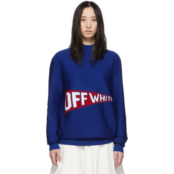 Off-White Blue and Red Logo Flag Crewneck Sweater