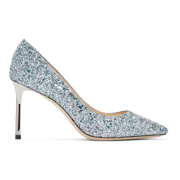 Jimmy Choo Silver & Blue Glitter Romy 85 Heels