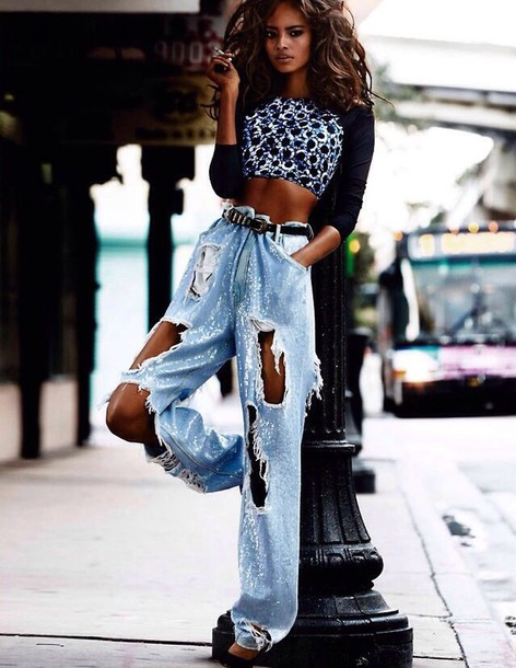 jeans vogue paris style ripped jeans blue jeans high waisted jeans white washed denim torn ripped i need!!!