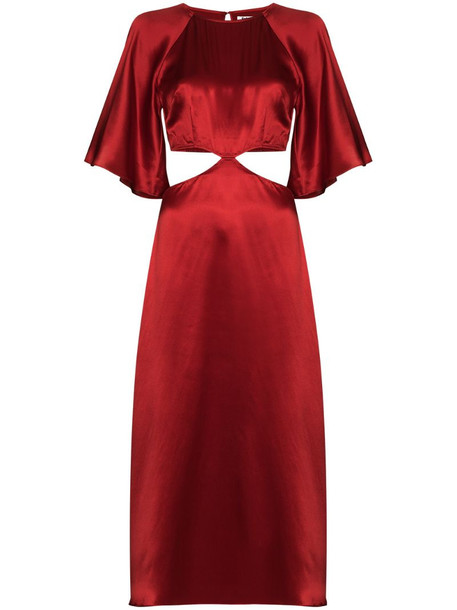 Reformation high-shine cut-out silk dress in red