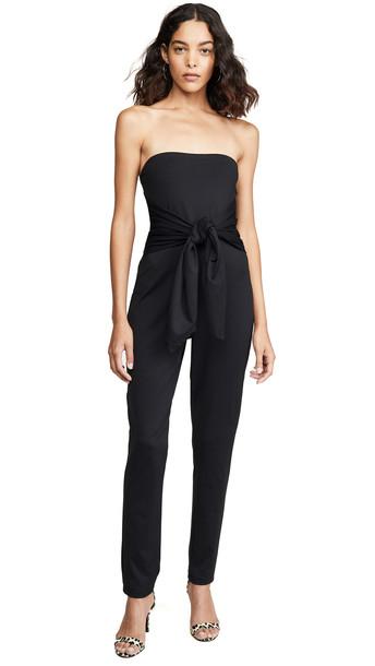 Susana Monaco Strapless Tie Waist Jumpsuit in black