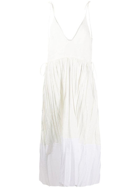 Jil Sander crinkle-effect midi dress in white
