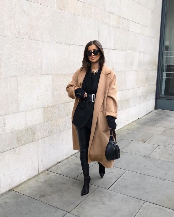 coat long coat black boots black leather pants black blazer black bag black top