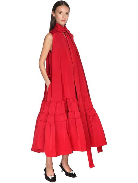 ROCHAS Ruffled Taffeta Midi Dress W/ Scarf in red