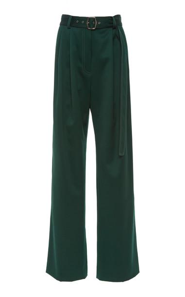 Sies Marjan Blanche Pleated Belted Wool Wide-Leg Pants Size: 0