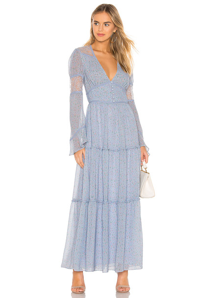 Divine Heritage Button Up Maxi Dress in blue