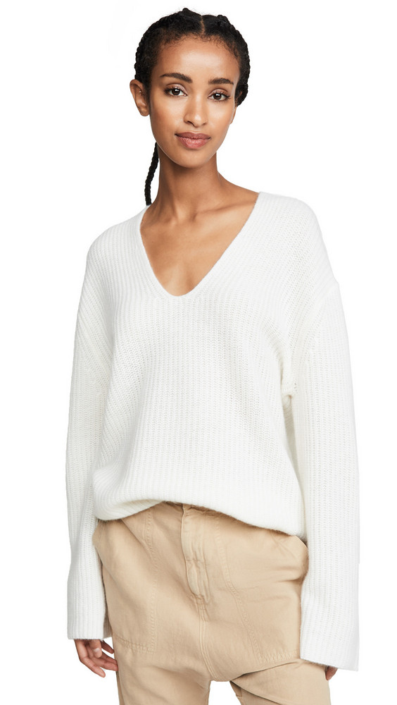 360 SWEATER Reese Cashmere Sweater in white