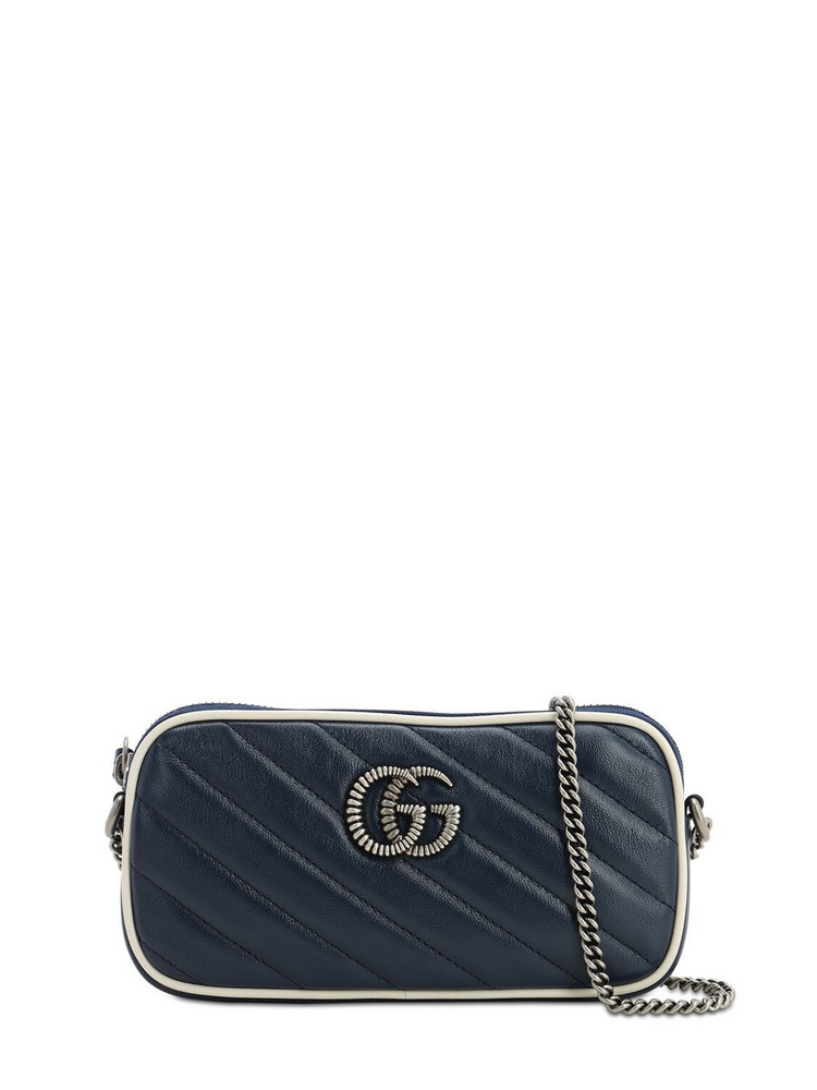 GUCCI Gg Marmont 2.0 Leather Shoulder Bag in blue / white