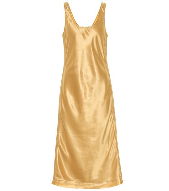 Acne Studios Satin midi dress in yellow