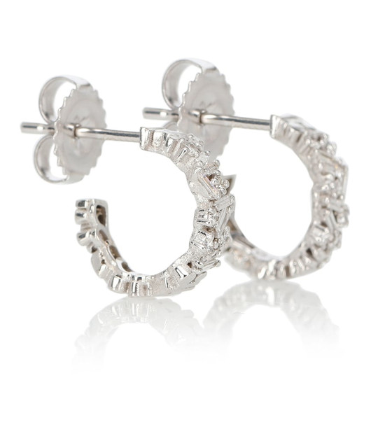 Suzanne Kalan Fireworks 18kt white gold hoop earrings with diamonds in silver