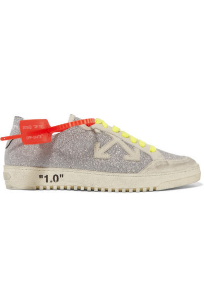 Off-White - Arrow 2.0 Distressed Glittered Leather And Suede Sneakers - Silver