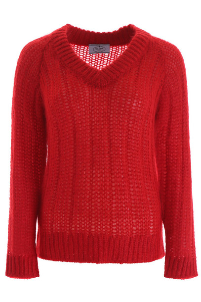 Prada Ribbed Pullover in red