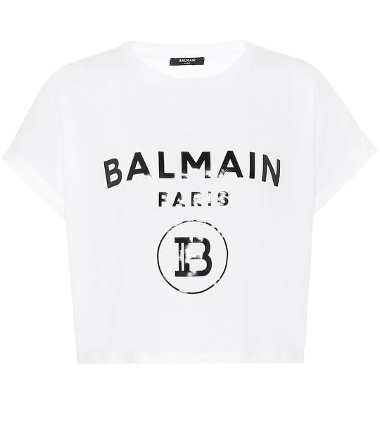 Balmain Cropped logo cotton T-shirt in white