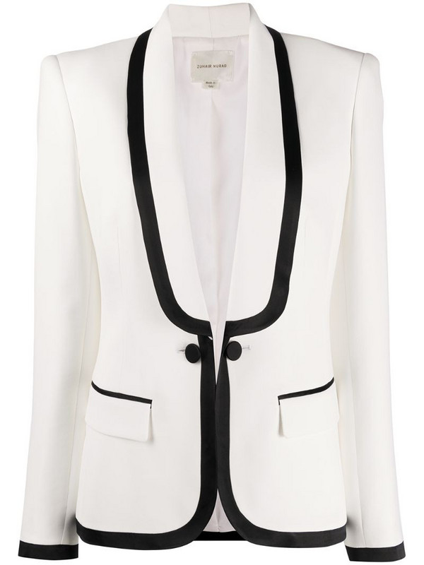Zuhair Murad fitted single breasted blazer in white