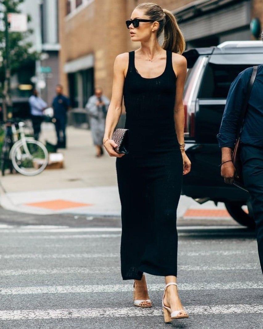 dress black dress maxi dress sandal heels handbag
