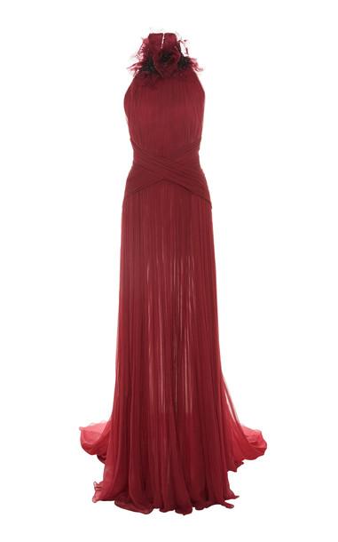 Pamella Roland Draped Silk Chiffon Halter Gown in pink