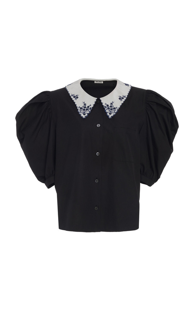 Miu Miu Embroidered Collar Button Down Top in black