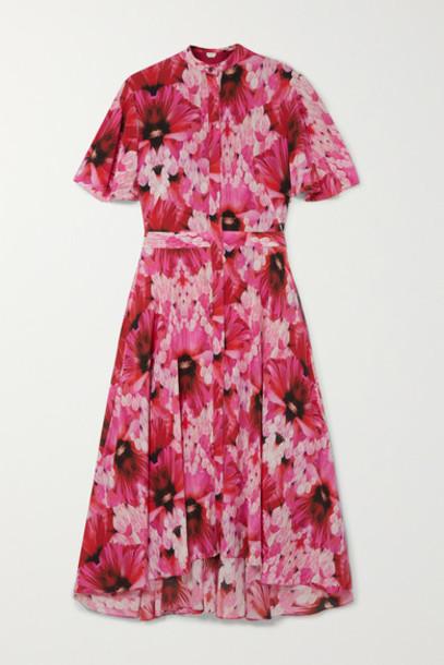 Alexander McQueen - Floral-print Silk-georgette Midi Dress - Pink
