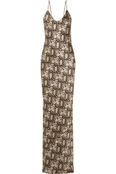 Nili Lotan - Snake-print Silk-satin Maxi Dress - Snake print