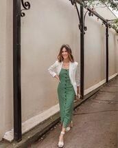 dress,midi dress,green dress,white sandals,white blazer,bag