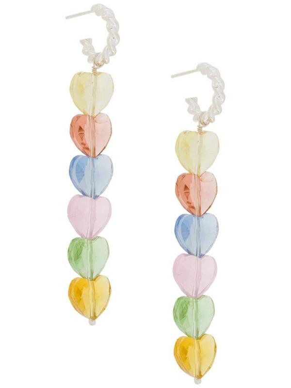 Isabel Lennse heart-embellished hoop earrings in metallic
