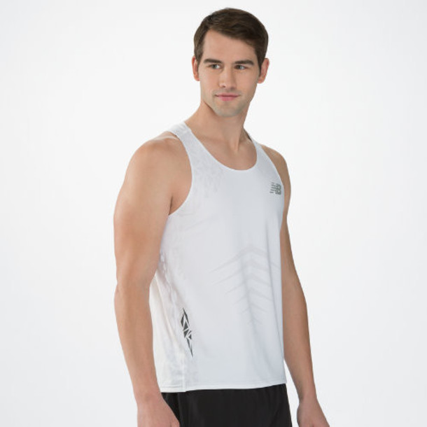 New Balance 4101 Men's Boylston Singlet - White (MRT4101WT)