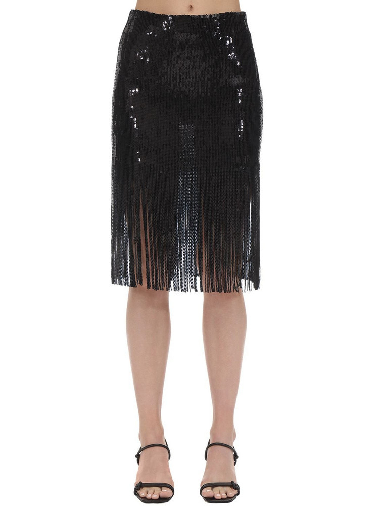 L'AUTRE CHOSE High Waist Sequins Skirt W/ Fringes in black