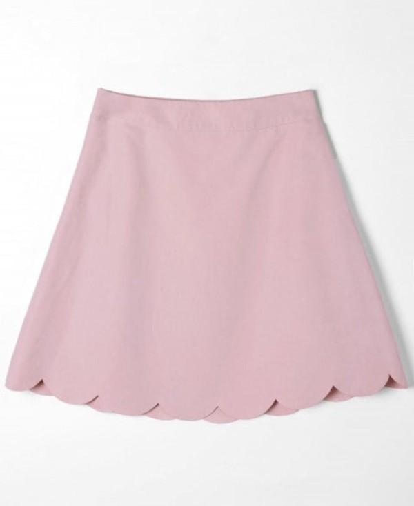 skirt girly pink skinny jeans scalloped cute skater skirt