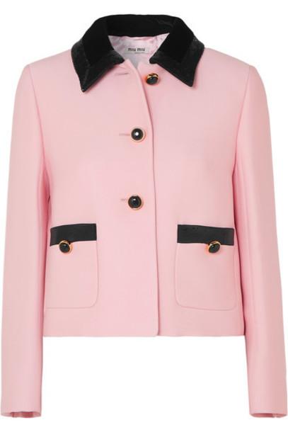 Miu Miu - Sequined Velvet-trimmed Cady Jacket - Pink