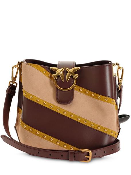 Pinko Love stripe shoulder bag in brown