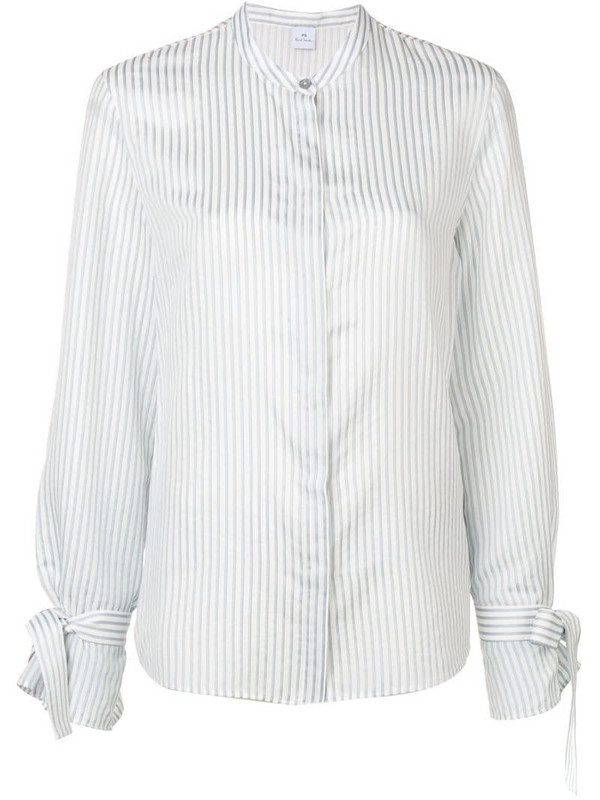 PS Paul Smith band collar striped shirt in white