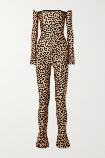 Halpern - Off-the-shoulder Leopard-print Stretch-jersey Jumpsuit - Leopard print