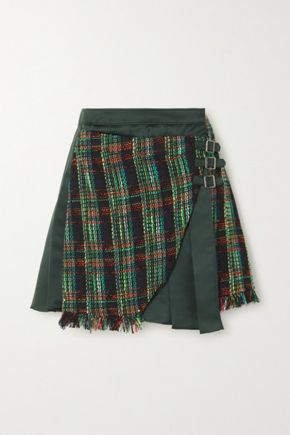 Andersson Bell - Ria Fringed Plaid Tweed And Pleated Satin Mini Skirt - Dark green