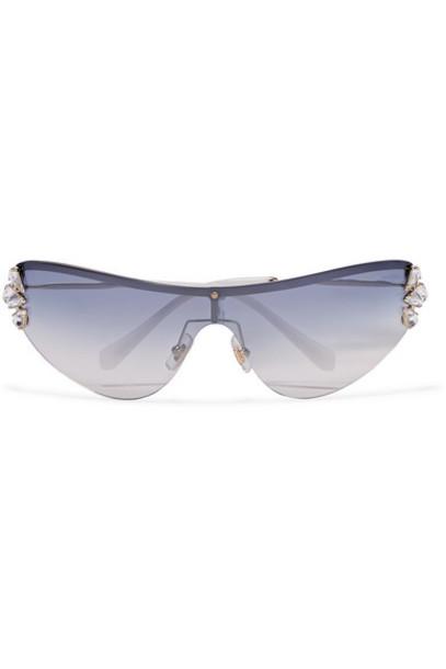 Miu Miu - Visor D-frame Crystal-embellished Gold-tone Sunglasses - Silver