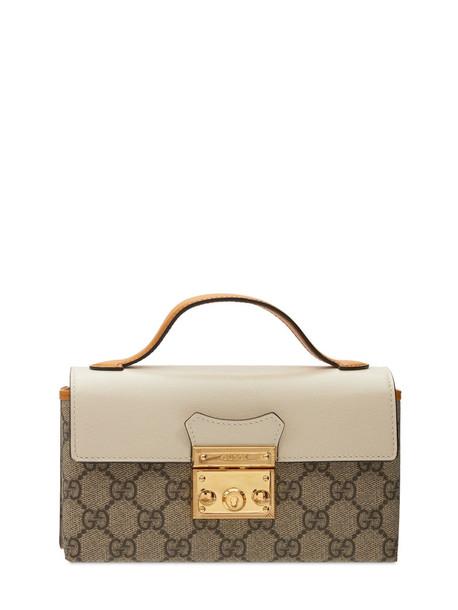 GUCCI Gg Supreme Canvas Mini Padlock Bag in white