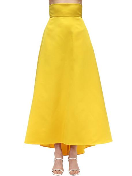 SARA BATTAGLIA High Waist Maxi Duchesse Skirt in yellow