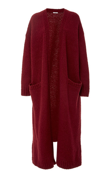 Co Slub Longline Wool-Blend Cardigan Size: M in red