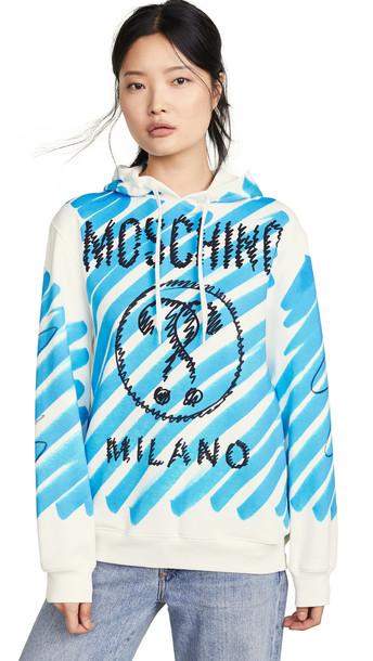 Moschino Moschino Scribble Logo Hoodie in blue / white