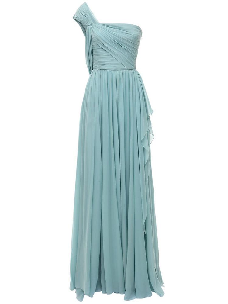 ELIE SAAB One Shoulder Silk Chiffon Long Dress in blue